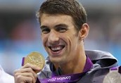 Phelps with a gold medal