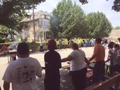 Prayer Circle with Neighbors on Enright
