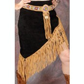 Black And Tan Suede Leather Skirt