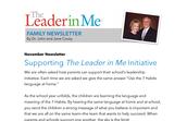 Leader in Me November Newsletter- Steven Covey