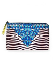 Jeweled Zebra Capri Pouch-original $36, sale $15