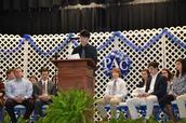 Senior Steve Martin speaks during ceremony.