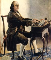 Ben Franklin playing the glass armonica