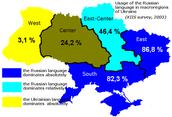 Language percentage in Ukraine