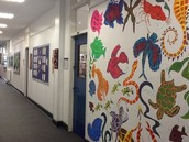 Colourful displays of students' art work