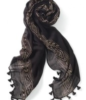 Westwood Tassel Scarf - Black/Rose Gold
