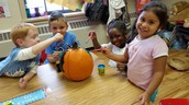 Painting our classroom pumpkin