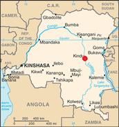 Le Kindu sur une map du RDC