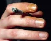 Someones yellowing fingers from smoking