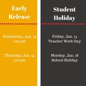 January Early Release and Holidays