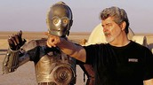 """George Lucas on the set of """"Star Wars: Episode II""""."""
