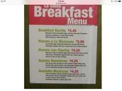 The breakfast Menu