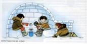 Dibujo de interior de iglú
