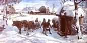 New England settlers brave through the harsh winter.