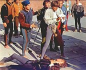 Mercutio lying dead from Tybalt