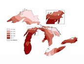 Map of where salmon live the great lakes area