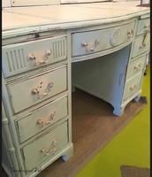 Blue & Ivory 8-Drawer Desk ~$625