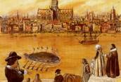 Painting of Drebbel testing his submarine