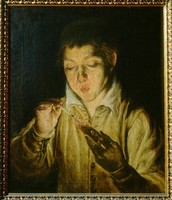 Boy Blowing on an Ember