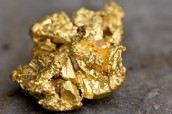 Gold is found in nugget form.