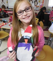 Abby shows off her penguin!