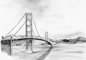 Drawing of the Golden Gate Bridge