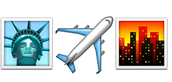 The next three emojis, the statue of liberty, plane, and the sunset over the city signify when I moved from New York down to North Carolina.