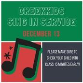 Dec 13: CreekKids singing in service