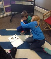 William and Anna are classifying rocks.  Each student received their own kit!