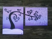 Whimsical Diptych Tree