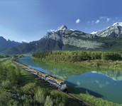 this train goes right along the rocky mountain or the rockies