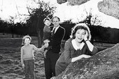 Roald Dahl with his wife and two children