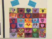 Mixed Media Hearts by Kindergarten