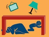During the earthquake do waht you practiced and protect yourself from falling debris