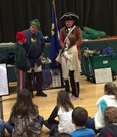 Making a trade between a French explorer and Native American.