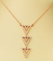 Pave Spear Necklace- Rosegold
