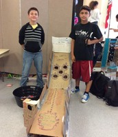 6th STEM Students with their Cardboard Arcade game - ready for play