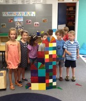 Working together to build with Magnatiles.