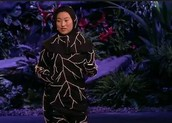 Jae Rhim Lee, creator of the Infinity project, wearing the mushroom death suit.