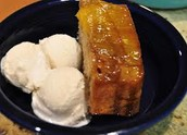 half a french toast and ice cream
