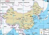Map of China: Longitude and Latitude Version