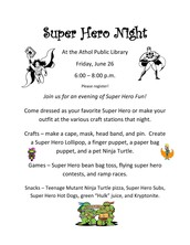 Be a Super Hero Tonight at Athol Public Library!