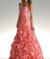 Ruffled Peach Strapless Gown