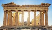 Front View: Doric Pillars