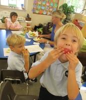 Tasting Apples...yummy!