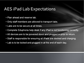 iPad Lab CLARIFICATIONS