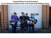 Jacob Humphrey 2nd Drake State Welding Contest