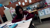 Tina working really hard in math