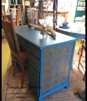 "Blue Chalk Paint and ""Pressed Tin"" Desk - $325"