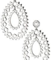 Talia Teardrop earrings, white bronze
